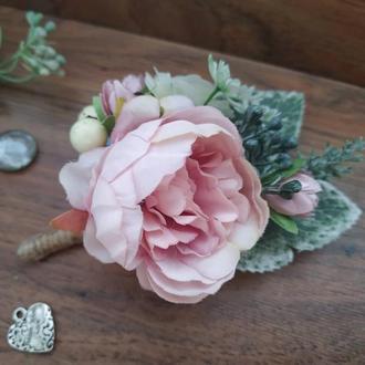 Бутоньерка в пудровом цвете Бутоньерка для жениха Бутоньерка для свидетеля