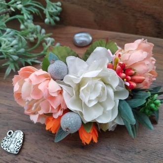 Гребень свадебный в стиле Peach Wedding Украшение для волос