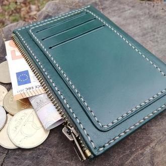 Оригинальный кожаный кошелек, отделения для карт снаружи. Ручная работа