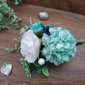Бутоньерка в цвете Тиффани Бутоньерка для жениха Бутоньерка для свидетеля