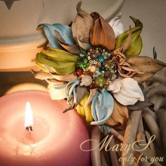 Брошь-заколка из кожи «MaryS Leather Accessories» от Cтудии аксессуаров Марии Суслиной