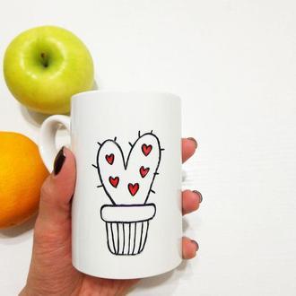 Кружка Чашка с кактусом и сердечком, сердце