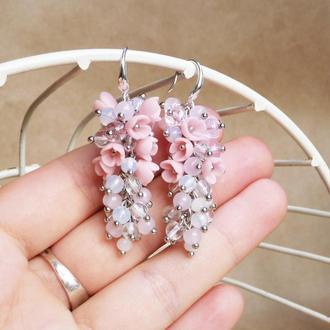 Розовые серьги грозди, нежные серьги, свадебные серьги, серьги вечерние длинные, серьги на выпускной