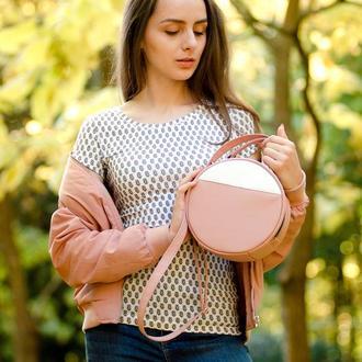 Женская пудровая круглая сумка через плечо