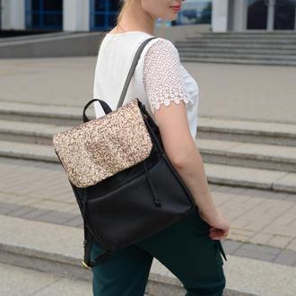Женский черный вместительный рюкзак, экокожа