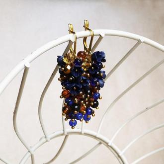 Темно синие серьги грозди, серьги вечерние длинные, цветочные серьги, серьги на выпускной