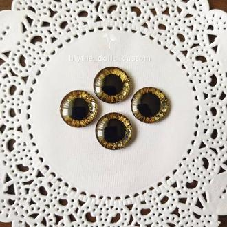 Чипы для глаз куклы Блайз 14 мм, золотые глазки для куклы