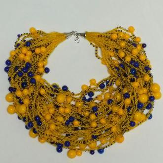 Многорядные бусы из бисера желто-голубые, воздушные, подарок девушке, любимой, женщине