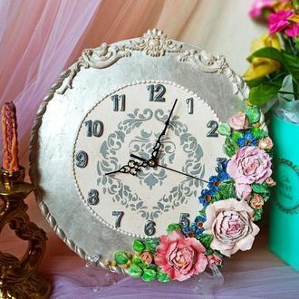 """Кварцові годинники """"Півонії, незабудки і міні троянди"""" настільні, настінні"""