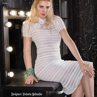 Элегантное платье с элементами ирландского кружева. Эксклюзив.