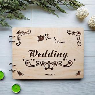 Деревянный свадебный альбом для фотографий и пожеланий