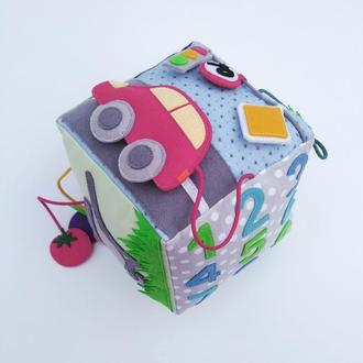 Бизикуб мягкий, Игрушка для младенца, Развивающий кубик,