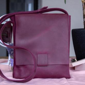 Практичная кожаная сумка-планшет для мужчин бордовый