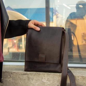 Практичная кожаная сумка-планшет для мужчин коричневый