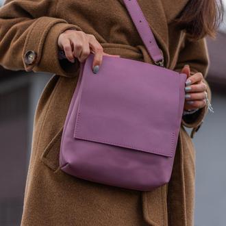 Практичная кожаная сумка-планшет для мужчин сиреневый