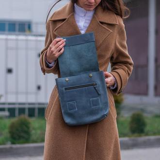 Практичная кожаная сумка-планшет для мужчин голубой