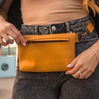 Компактная поясная сумка из натуральной кожи желтый