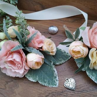 Комплект бутоньерок Ванильно-розовый Бутоньерка для свидетеля Бутоньерка на руку для свидетельницы