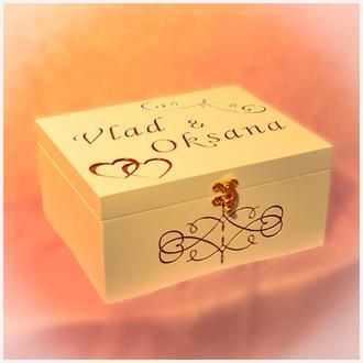 Шкатулка коробка банк семьи семейный бюджет для денег с отделениями гравировкой на свадьбу купюрница