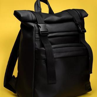 Мужской черный вместительный рюкзак ролл для путешествий