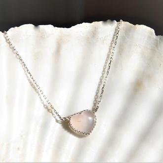 Серебряный кулон с розовым кварцем, кулон сердечко, ювелирный кулон