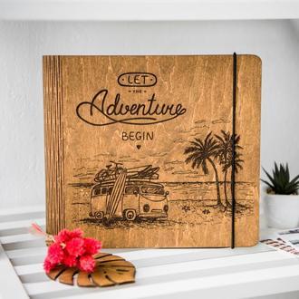 """Фотоальбом из дерева / Альбом для фотографий  """"Let the adventure begin"""""""