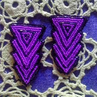 большие фиолетовые серьги
