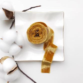Бархатная лента для букета невесты горчичного цвета