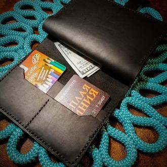 Тревел-кейс на кнопке из натуральной кожи Crazy Horse  (Цвет Black)+подарок