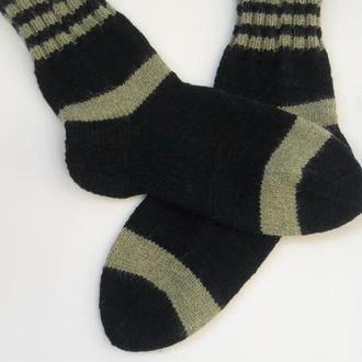 Мужские шерстяные носки.Темно-зеленые носки.