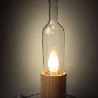 Светильник из бутылки, белый бук-72