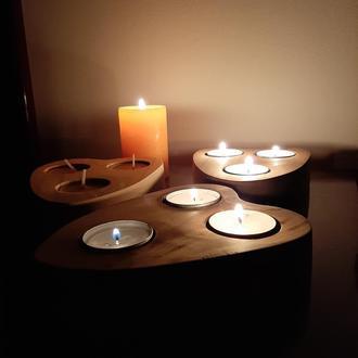 Подсвечник из дерева + 3 свечи