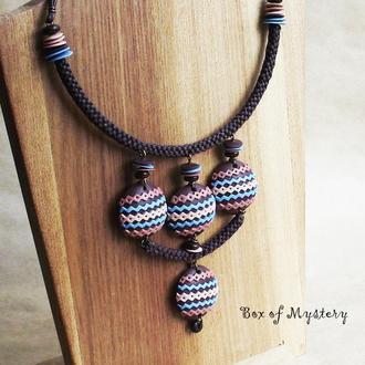 Колье бохо, колье голубое, украшение на шею, этно украшения, оригинальный подарок девушке