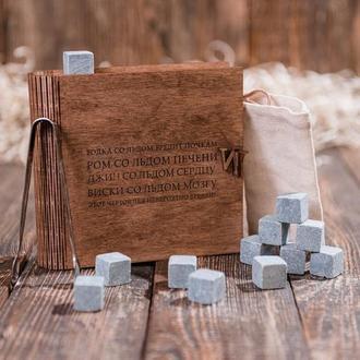 """Подарунковий набір каменів для віскі в скриньці книзі """"Шкідливий лід"""""""