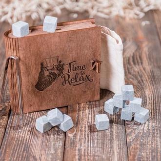 """Подарунковий набір каменів для віскі в скриньці книзі """"Time to relax"""""""