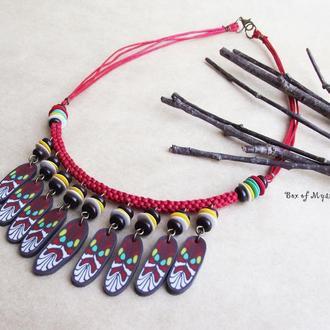 Красное колье, бохо украшения, красные украшения, этно украшения, подарок девушке