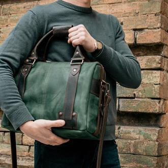 Мужская кожаная сумка, Зеленая сумка портфель для документов
