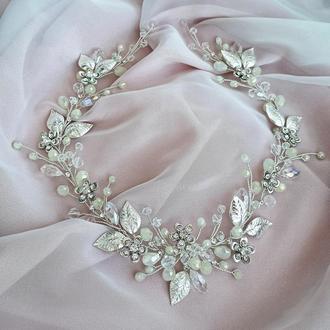 Свадебное украшение для волос, веточка в прическу, украшения в прическу на выпускной,венок на голову
