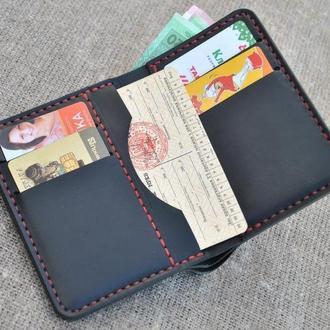 Вертикальное портмоне из натуральной кожи  K15-0+red