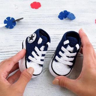 Детские вязаные пинетки кеды