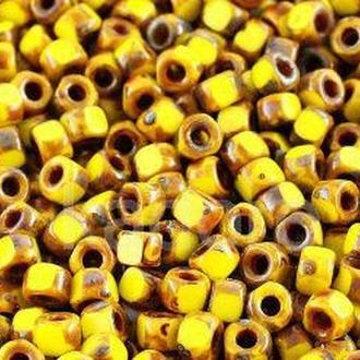Намистина Matubo 3 cut 60 жовтий(непрозорий)-пікассо