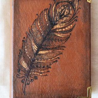 Блокнот кожаный «Орнаментальное перо»