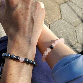 Парные браслеты из натуральных камней Гематит и Розовый кварц