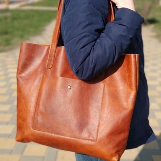 Женская кожаная сумка Шоппер Stedley яловка коньяк