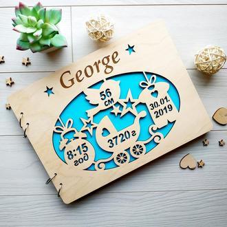 Детский альбом в деревянной обложке с гравировкой на заказ