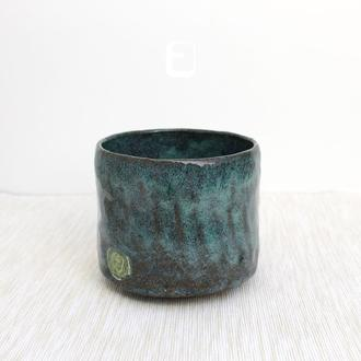 "Work no. 566W — синяя чаша, пиала, тяван, чаван ""Morning Gorgany"", teabowl in japanese style"