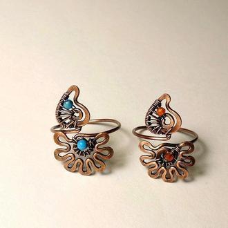 """Кольцо на палец ноги """"Цветочек с листочком"""", серебро, бронза, медь, бирюза, сердолик, родохрозит"""