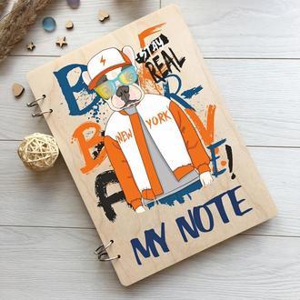 Оригинальный цветной блокнот в деревянной обложке