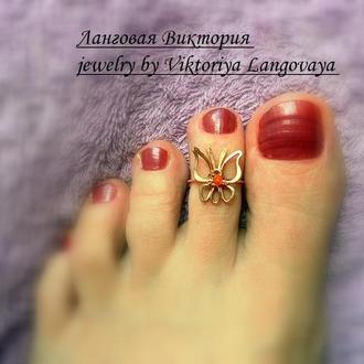 "Кольцо на палец ноги ""Бабочка"", серебро, бронза, wire wrap."