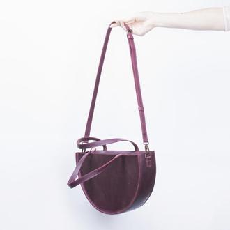 Вечерняя бордовая женская сумочка, сделанная из натуральной кожи